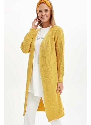 DeFacto Uzun Triko Hırka Sarı
